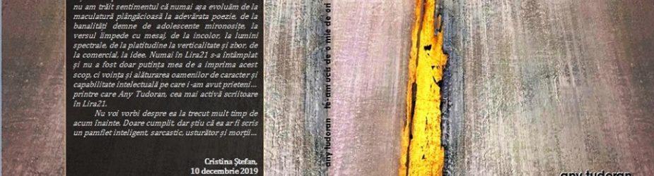 """Te-am ucis de o mie de ori"" – versuri – Any Tudoran, ArtBook, 2020"